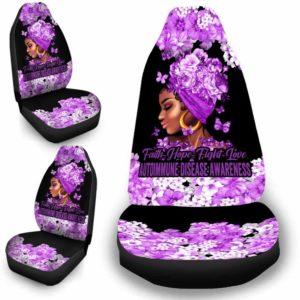 CSC-W-Awa-FlwrBlgr1009-Audi-25 @ Faith Hope Fight Love Flower Black Girl Autoimmune Disease-Autoimmune Disease Awareness Ribbon Flower Car Seat Cover. Faith Hope Fight Love Car Accessory Custom Gift.