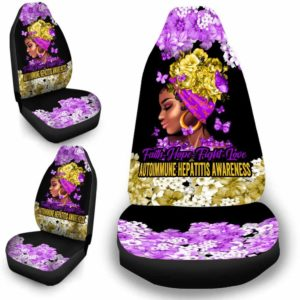 CSC-W-Awa-FlwrBlgr1009-Auhe-26 @ Faith Hope Fight Love Flower Black Girl Autoimmune Hepatitis-Autoimmune Hepatitis Awareness Ribbon Flower Car Seat Cover. Faith Hope Fight Love Car Accessory Custom Gift.