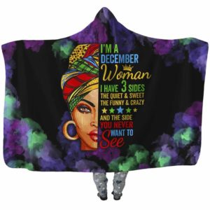 HB-U-Age-100-Dec-0 @ Age December-December Woman, December Girl, December Queen Hooded Blanket With Hood. Custom Personalized Birthday Gift For Women Born In December.