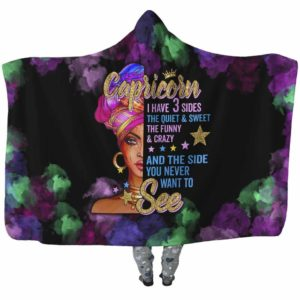HB-U-Age-200-Crc-0 @ Age -2 Capricorn-Capricorn Woman, Capricorn Girl, Capricorn Queen Hooded Blanket With Hood. Custom Personalized Birthday Gift For Women.