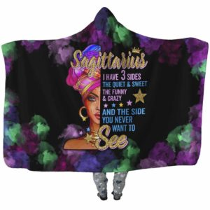 HB-U-Age-200-Sag-1 @ Age -2 Sagittarius-Sagittarius Woman, Sagittarius Girl, Sagittarius Queen Hooded Blanket With Hood. Custom Personalized Birthday Gift For Women.