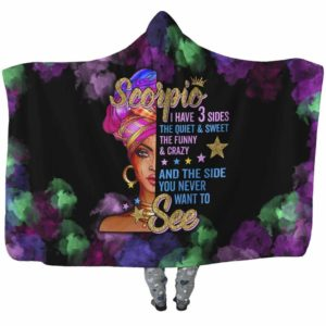 HB-U-Age-200-Scp-2 @ Age -2 Scorpio-Scorpio Woman, Scorpio Girl, Scorpio Queen Hooded Blanket With Hood. Custom Personalized Birthday Gift For Women.