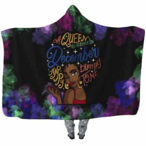 HB-U-Blk-142-Dec-2 @ Black Woman December-December Woman, December Girl, December Black Queen Hooded Blanket. Custom Personalized Birthday Gift For Afro Women Born In December.