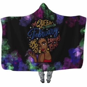 HB-U-Blk-142-Feb-3 @ Black Woman February-February Woman, February Girl, February Black Queen Hooded Blanket. Custom Personalized Birthday Gift For Afro Women Born In February.