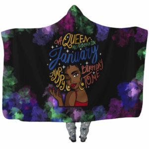 HB-U-Blk-142-Jan-4 @ Black Woman January-January Woman, January Girl, January Black Queen Hooded Blanket. Custom Personalized Birthday Gift For Afro Women Born In January.
