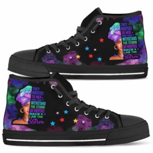 HTS-U-Blk-152-Blwm-0@ Black Woman Black Woman-I Am The Storm - Strong Black Woman Black Queen Canvas Shoes High Top Shoes. Custom Personalized Gift For Afro African American Women.