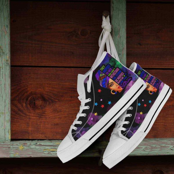 HTS-U-Blk-152-Blwm-1@ Black Woman Black Woman-I Am The Storm - Strong Black Woman Black Queen Canvas Shoes High Top Shoes. Custom Personalized Gift For Afro African American Women.