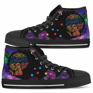 HTS-U-Blk-152-Jan-4@ Black Woman January-January Woman, January Black Queen Canvas Shoes High Top Shoes. Custom Personalized Birthday Gift For Afro Women Born In January.