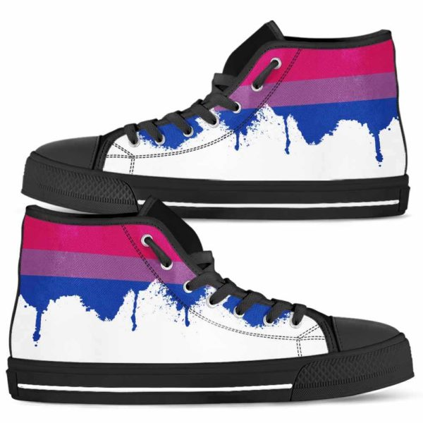 HTS-U-Lgbt-WateLine-Bsex-0 @ Bisexuality Watercolor Line-Bisexual Pride, Bisexuality Pride, Equality Canvas Shoes High Top Shoes. Custom Personalized Gift For Women And Men.