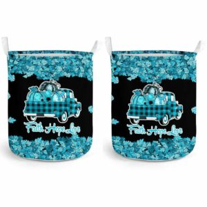 LB-U-Awa-Lf130-2211d-2@ Awareness - Truck Faith Hope Love Leaf 22q11.2 Deletion-22Q11.2 Deletion Digeorge Syndrome Awareness Ribbon Laundry Basket. Fall Pumpkin Truck Laundry Basket Custom Gift.
