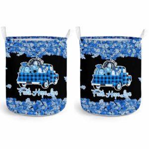LB-U-Awa-Lf130-22d-1@ Awareness - Truck Faith Hope Love Leaf 22q Deletion-22Q Deletion 22Q Deletion Syndrome Awareness Ribbon Laundry Basket. Fall Pumpkin Truck Laundry Basket Custom Gift.