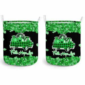 LB-U-Awa-Lf130-Adca-6@ Awareness - Truck Faith Hope Love Leaf Adrenal Cancer-Adrenal Cancer Awareness Ribbon Laundry Basket. Fall Pumpkin Truck Laundry Basket Custom Gift.