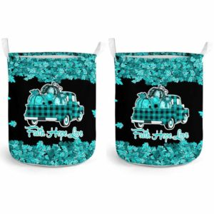 LB-U-Awa-Lf130-Algy-9@ Awareness - Truck Faith Hope Love Leaf Allergy-Allergy Awareness Ribbon Laundry Basket. Fall Pumpkin Truck Laundry Basket Custom Gift.