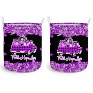 LB-U-Awa-Lf130-Alzhei-13@ Awareness - Truck Faith Hope Love Leaf Alzheimer's-Alzheimer'S Awareness Ribbon Laundry Basket. Fall Pumpkin Truck Laundry Basket Custom Gift.