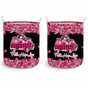 LB-U-Awa-Lf130-Amyl-14@ Awareness - Truck Faith Hope Love Leaf Amyloidosis-Amyloidosis Awareness Ribbon Laundry Basket. Fall Pumpkin Truck Laundry Basket Custom Gift.