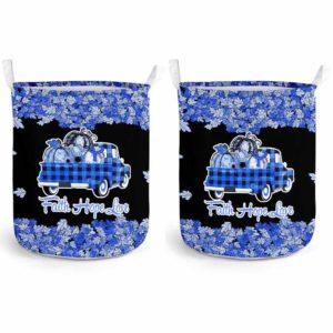 LB-U-Awa-Lf130-AnSpon-16@ Awareness - Truck Faith Hope Love Leaf Ankylosing Spondylitis-Ankylosing Spondylitis Awareness Ribbon Laundry Basket. Fall Pumpkin Truck Laundry Basket Custom Gift.