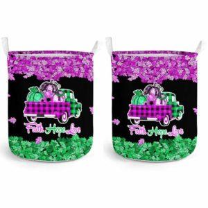 LB-U-Awa-Lf130-Anca-15@ Awareness - Truck Faith Hope Love Leaf Anal Cancer-Anal Cancer Awareness Ribbon Laundry Basket. Fall Pumpkin Truck Laundry Basket Custom Gift.