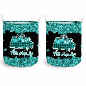 LB-U-Awa-Lf130-Andi-17@ Awareness - Truck Faith Hope Love Leaf Anxiety Disorder-Anxiety Disorder Awareness Ribbon Laundry Basket. Fall Pumpkin Truck Laundry Basket Custom Gift.