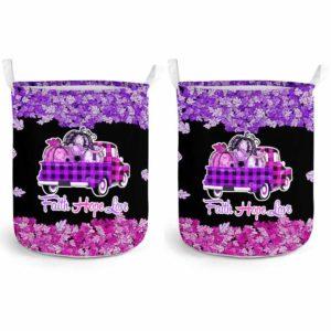 LB-U-Awa-Lf130-Aosy-8@ Awareness - Truck Faith Hope Love Leaf Aicardi Syndrome-Aicardi Syndrome Awareness Ribbon Laundry Basket. Fall Pumpkin Truck Laundry Basket Custom Gift.