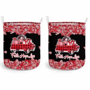 LB-U-Awa-Lf130-Apla-19@ Awareness - Truck Faith Hope Love Leaf Aplastic Anemia-Aplastic Anemia Awareness Ribbon Laundry Basket. Fall Pumpkin Truck Laundry Basket Custom Gift.