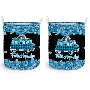 LB-U-Awa-Lf130-Apra-21@ Awareness - Truck Faith Hope Love Leaf Apraxia-Apraxia Awareness Ribbon Laundry Basket. Fall Pumpkin Truck Laundry Basket Custom Gift.