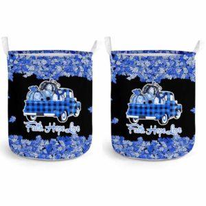 LB-U-Awa-Lf130-Ards-22@ Awareness - Truck Faith Hope Love Leaf ARDS-Ards Acute Respiratory Distress Syndrome Awareness Ribbon Laundry Basket. Fall Pumpkin Truck Laundry Basket Custom Gift.