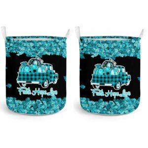 LB-U-Awa-Lf130-Asth-23@ Awareness - Truck Faith Hope Love Leaf Asthma-Asthma Awareness Ribbon Laundry Basket. Fall Pumpkin Truck Laundry Basket Custom Gift.