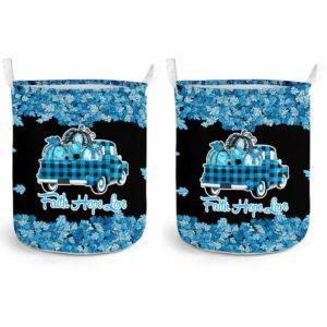 LB-U-Awa-Lf130-Tr18-200@ Awareness - Truck Faith Hope Love Leaf Trisomy 18-Trisomy 18 Edward'S Syndrome Awareness Ribbon Laundry Basket. Fall Pumpkin Truck Laundry Basket Custom Gift.