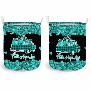 LB-U-Awa-Lf130-Trne-199@ Awareness - Truck Faith Hope Love Leaf Trigeminal Neuralgia-Trigeminal Neuralgia Awareness Ribbon Laundry Basket. Fall Pumpkin Truck Laundry Basket Custom Gift.