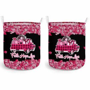 LB-U-Awa-Lf130-Wisy-209@ Awareness - Truck Faith Hope Love Leaf Williams Syndrome-Williams Syndrome Awareness Ribbon Laundry Basket. Fall Pumpkin Truck Laundry Basket Custom Gift.