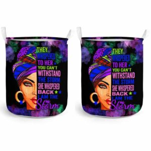 LB-U-Blk-162-Blwm-1@ Black Woman Black Woman-I Am The Storm - Strong Black Woman Black Girl Black Queen Laundry Basket. Custom Personalized Gift For Afro African American Women.