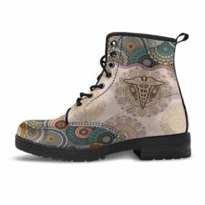 LBS-U-Nur-GreeYellMdl2002-Plboto-19 @ Green Yellow Mandala Phlebotomist-Phlebotomist Vegan Leather Boots For Women And Men. Mandala Colorful Custom Personalized Gift.