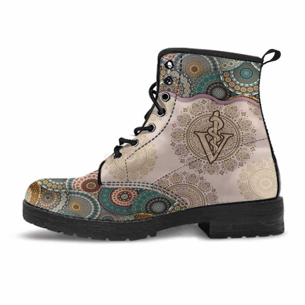 LBS-U-Nur-GreeYellMdl2002-Vet1-32 @ Green Yellow Mandala Veterinarian-Veterinarian Vegan Leather Boots For Women And Men. Mandala Colorful Custom Personalized Gift.