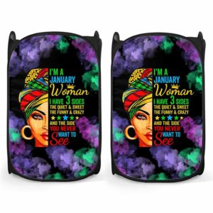 LH-U-Age-110-Jan-1@ Age January-January Woman, January Girl, January Queen Laundry Hamper. Custom Personalized Birthday Gift For Women Born In January.