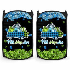LH-U-Awa-Lf1012-136d-0@ Awareness - Truck Faith Hope Love Leaf 1p36 Deletion-1P36 Deletion 1P36 Deletion Syndrome Awareness Ribbon Laundry Hamper. Fall Pumpkin Truck Laundry Hamper Custom Gift.