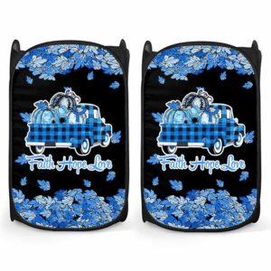 LH-U-Awa-Lf1012-22d-1@ Awareness - Truck Faith Hope Love Leaf 22q Deletion-22Q Deletion 22Q Deletion Syndrome Awareness Ribbon Laundry Hamper. Fall Pumpkin Truck Laundry Hamper Custom Gift.