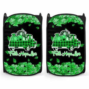 LH-U-Awa-Lf1012-Adca-6@ Awareness - Truck Faith Hope Love Leaf Adrenal Cancer-Adrenal Cancer Awareness Ribbon Laundry Hamper. Fall Pumpkin Truck Laundry Hamper Custom Gift.
