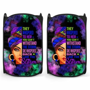 LH-U-Blk-182-Blwm-1@ Black Woman Black Woman-I Am The Storm - Strong Black Woman Black Girl Black Queen Laundry Hamper. Custom Personalized Gift For Afro African American Women.