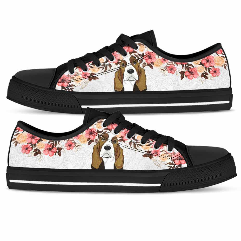 LTS-U-Dog-FlFl-BsHo-0 @ Basset Hound Floral Flower-Basset Hound Tennis Gym Shoes Low Top Shoes Sneakers For Women And Men. Flower Floral Custom Personalized Gift.
