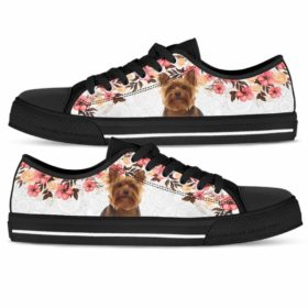 Yorkie Yorkshire Terrier Tennis Gym Shoes Low Top Shoes Sneakers For Women And Men. Flower Floral Custom Personalized Gift.