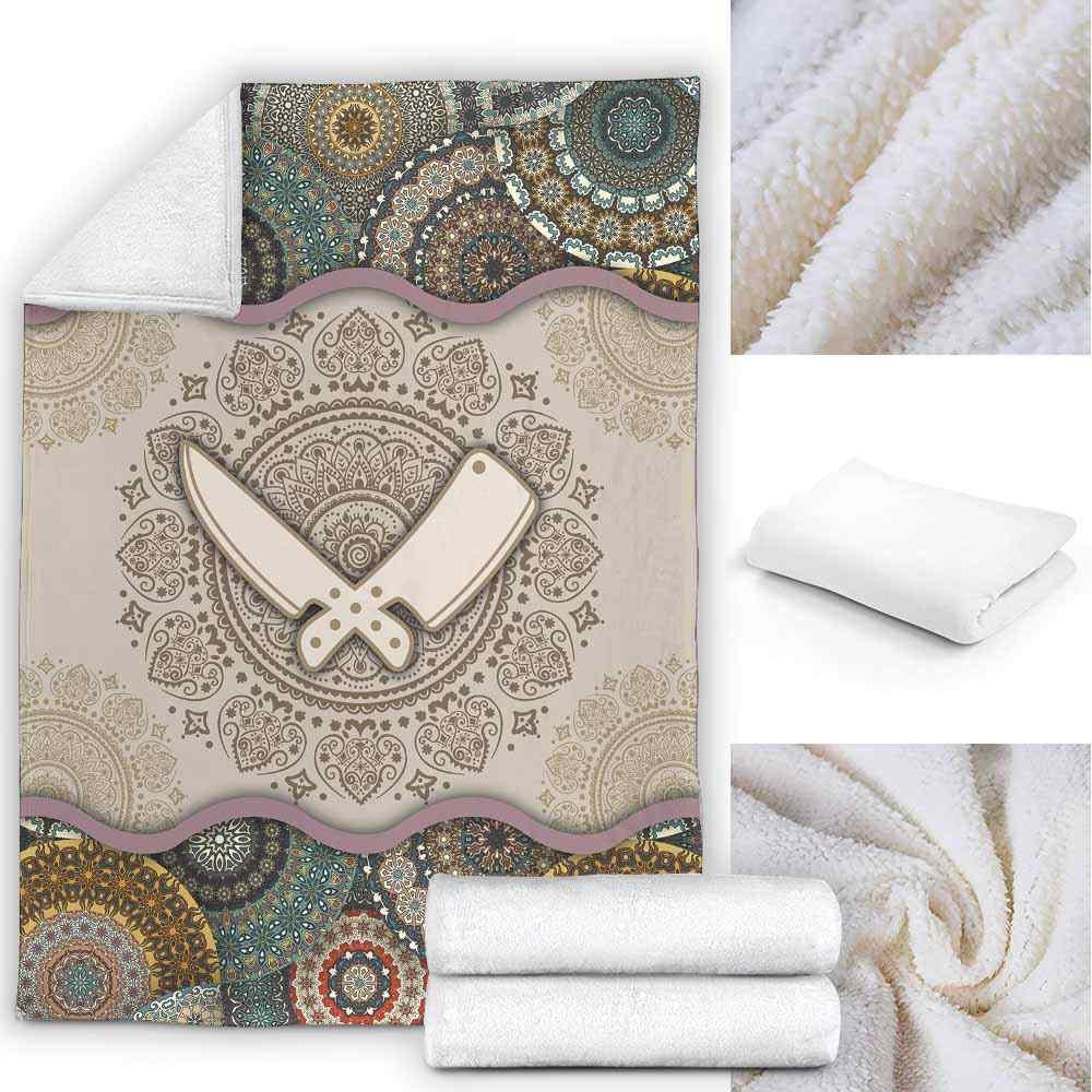PB-U-Job-GreeYellMdl1002-Btc-11 @ Green Yellow Mandala Butcher-Butcher Premium Fleece Blanket. Mandala Custom Personalized Blanket, Home Decoration Gift.
