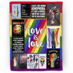 PB-U-Lgbt-LoveIsLove-Lgbt-0 @ Lgbt Love Is Love-Lgbt Pride, Gay Pride, Equality Rainbow Love Is Love Premium Fleece Blanket. Custom Personalized Blanket, Home Decoration Gift.