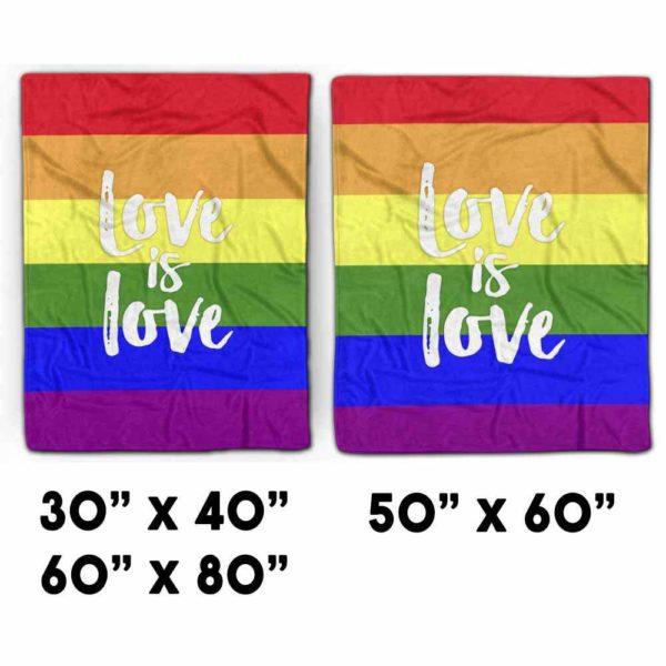PB-U-Lgbt-LoveisLove9999-Lgbt-1 @ Lgbt Love Is Love-Lgbt Pride, Gay Pride, Equality Love Is Love Rainbow Premium Fleece Blanket. Custom Personalized Blanket, Home Decoration Gift.