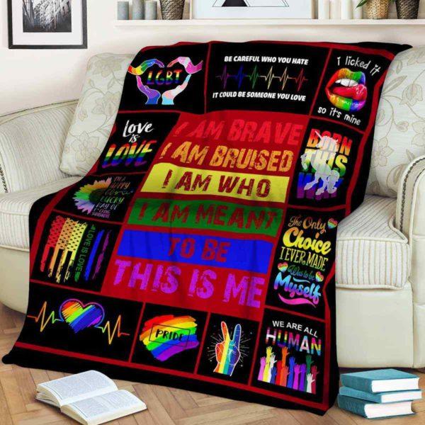 PB-U-Lgbt-PridBravQte-Lgbt-0 @ Lgbt Pride Brave Quote-Lgbt Pride, Gay Pride, Equality Brave Premium Fleece Blanket. Custom Personalized Blanket, Home Decoration Gift.