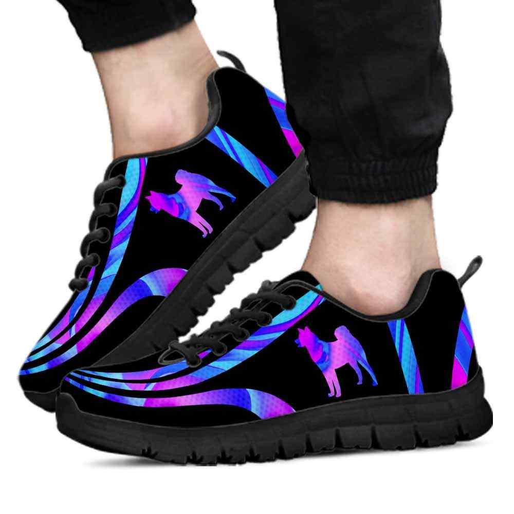 SS-U-Dog-LineAb1002-SInu-23 @ Line Abstract Shiba inu-Shiba Inu Dog Lovers Sneakers Gym Running Shoes Gift Women Men. Blue Purple Line Wave Dog Mom Dog Dad Custom Shoes.