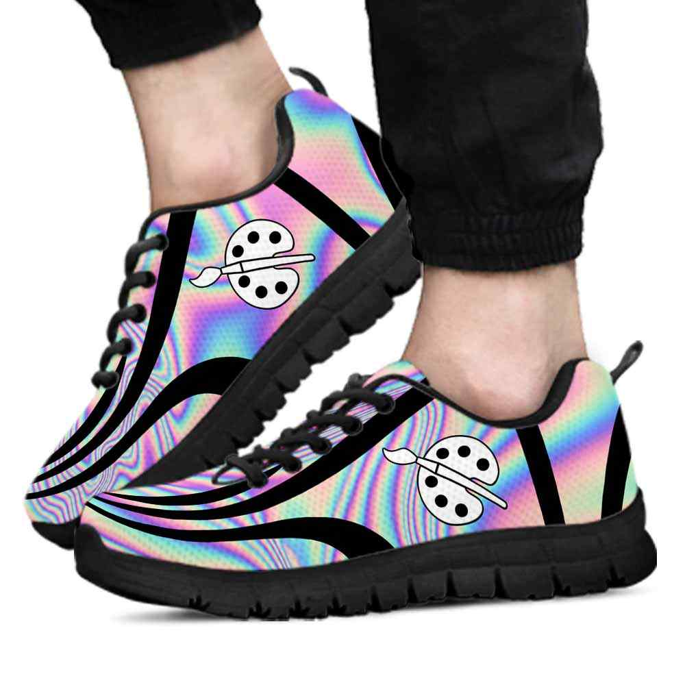 SS-U-Job-LineAb1003-Art-2 @ Line Abstract Artist-Artist Sneakers Gym Running Shoes, Gift For Women And Men. Rainbow Color Gradient Custom Personalized Shoes.