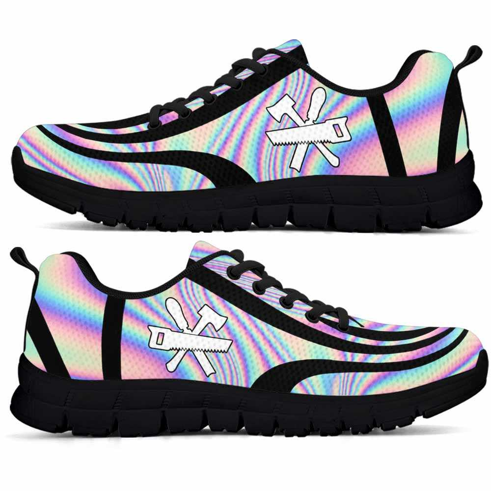 SS-U-Job-LineAb1003-Cpt-9 @ Line Abstract Carpenter-Carpenter Sneakers Gym Running Shoes, Gift For Women And Men. Rainbow Color Gradient Custom Personalized Shoes.