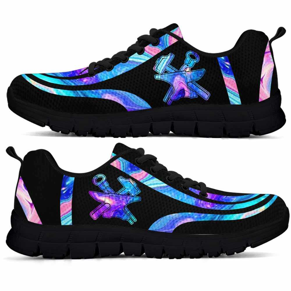 SS-U-Job-LineAb1006-Bsm-10 @ Line Abstract Blacksmith-Blacksmith Sneakers Gym Running Shoes, Gift For Women And Men. Blue Neon Line Custom Personalized Shoes.