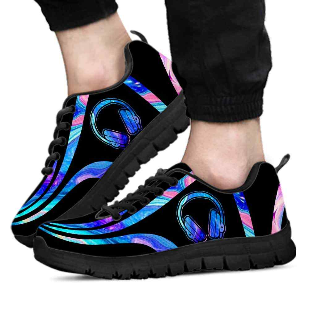 SS-U-Job-LineAb1006-Dj-21 @ Line Abstract DJ-Dj Sneakers Gym Running Shoes, Gift For Women And Men. Blue Neon Line Custom Personalized Shoes.