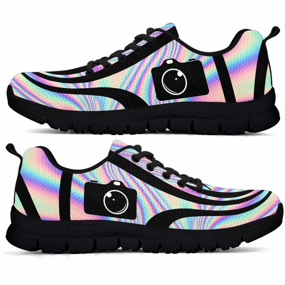 SS-U-Job-LineAb2002-Ptgr-5 @ Line Abstract Photographer-Photographer Sneakers Gym Running Shoes, Gift For Women And Men. Rainbow Color Gradient Custom Personalized Shoes.